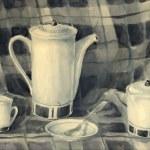 Watercolor still life of a teapot, milk jug, cups, saucers and tea spoons — Stock Vector #77148081