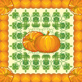 Pattern of ripe pumpkins with leaves — Stock Vector