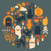Composition with halloween silhouettes. — Stock Vector
