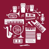 Set of music instruments. — Stock Vector