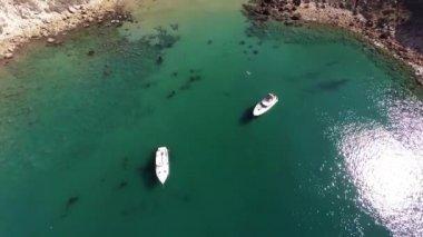 Aerial. Flying over Santa Cruz island, Potato Harbor. Pacific Ocean. California. — Stock Video