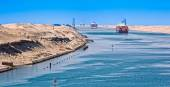 Ships in the Suez Canal — Stock Photo
