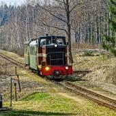 Passenger train on old narrow-gauge railway. — Stock Photo