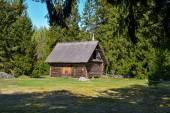 Oude log schuur met een rieten dak — Stockfoto