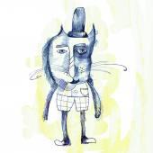 猫在帽子和布 — 图库照片