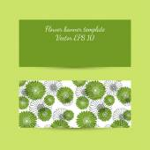 Banner template with floral composition in bright green colors — Stock Vector