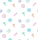 Vector seamless pattern from set of life icons: work, hospital, — Stock Vector