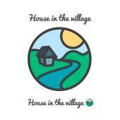 Vektorové ikony, logo západu slunce ve vesnici — Stock vektor
