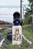 Blue semaphore on the railway — Stock Photo
