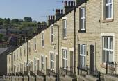 Row Stone and Slate Terraced Houses Lancashire — Stock Photo