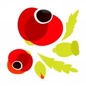 Red Poppy icons set — Stock Vector
