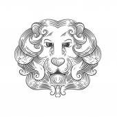 Heraldic lion head — Stock Vector