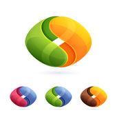 Abstract spheres yin yang logo — Stock Vector