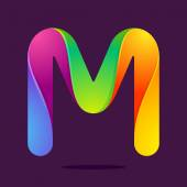 M letter one line colorful logo — Stock Vector