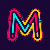 M letter logo with neon lines — Stock Vector