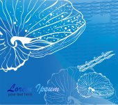 Line drawing seashell on blue background — Foto de Stock