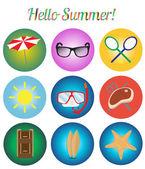 Icons set, Summer retro vector illustration — Vector de stock