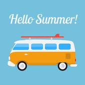 Retro bus with surf board — Stock Vector