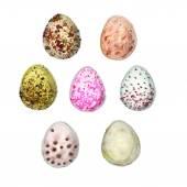 Set of seven watercolors eggs — Stock Vector