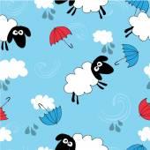 Papel pintado azul transparente con ovejas — Vector de stock