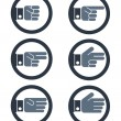 Hand gesture icons showing numbers from zero to five, set no.4 — Stock Vector #75711135