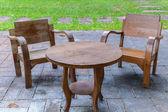 Chairs in garden — Stock Photo