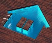 Shaped pool house — Stock Photo