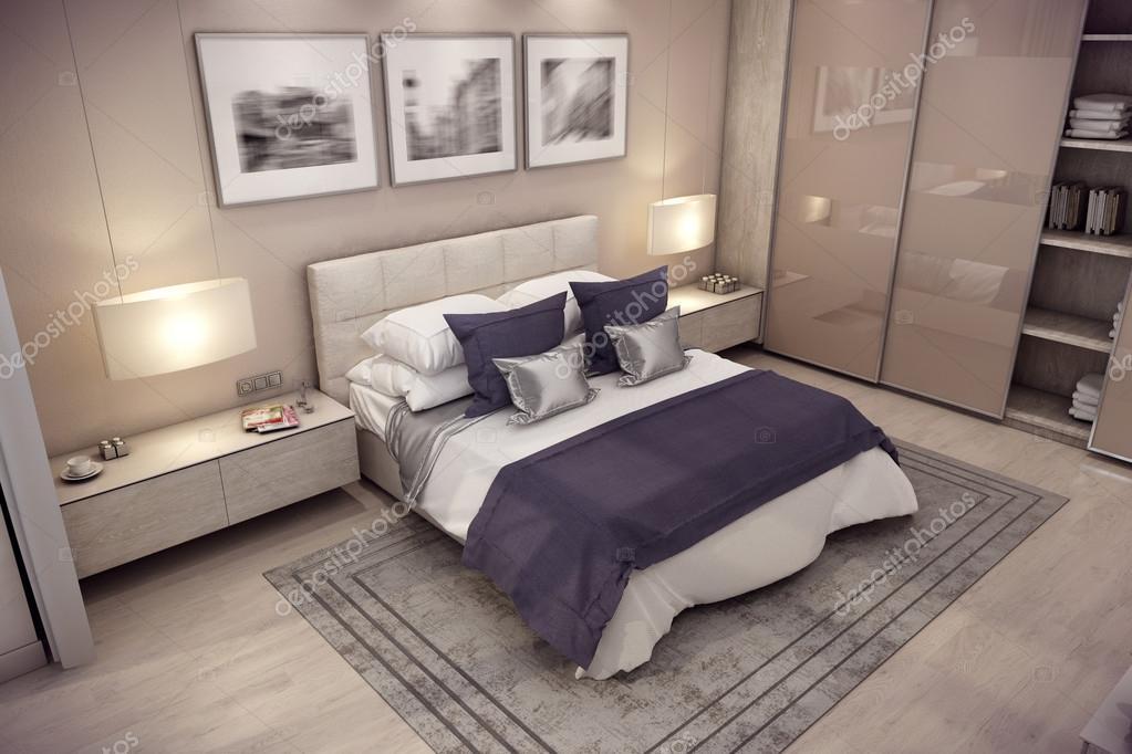 Casa camera da letto di rendering 3D in montagna — Foto Stock ...