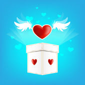 Beautiful heart on the wings of love with box — Διανυσματικό Αρχείο