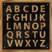 Wooden Alphabet, vector set with all Letters — Stock Photo