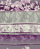 Toile de jouy lace and flower repeatable composition — Stock Photo