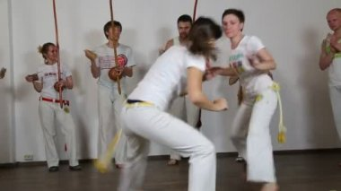 People practicing capoeira — 图库视频影像