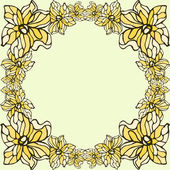 Yellow flowers frame isolated on a beige background — Stock Vector