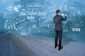 Businessman creating concept on the wall — Stockfoto
