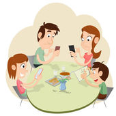 Phubbing Family Illustration — Stock Vector