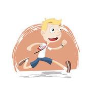 Boy running in school uniform — Vector de stock