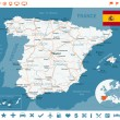 Постер, плакат: Spain map flag navigation labels roads illustration