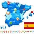 Постер, плакат: Spain map 3D flag and navigation icons illustration