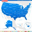 United States (USA) - map, flag and navigation icons - illustration. — Stock Vector #77738920