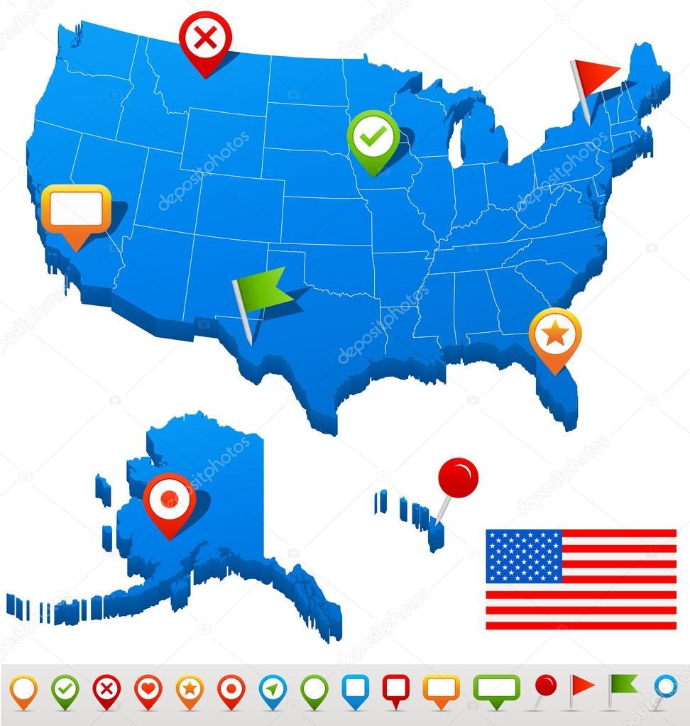 美国地图和导航图标的矢量图– 图库插图