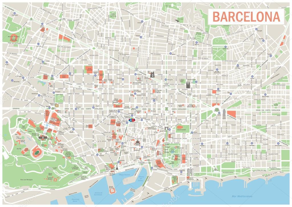 非常详细的矢量地图的巴塞罗那包括街道, 公园, 军分区的利益点的名称