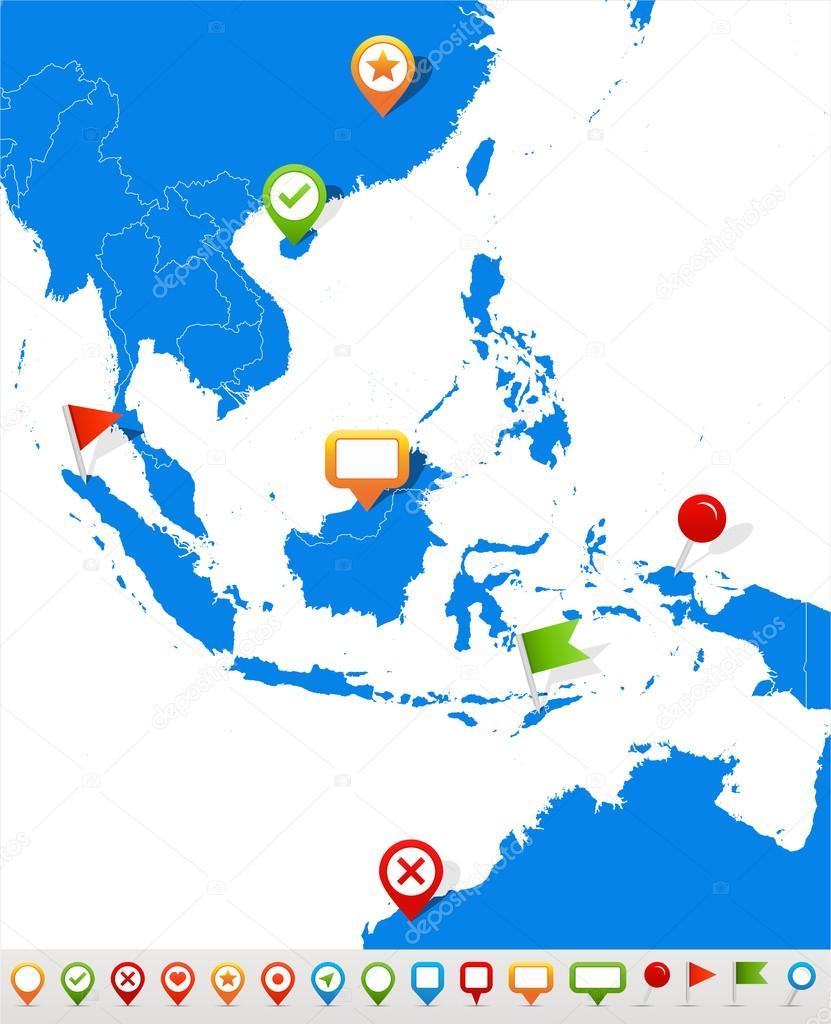 东南亚地区地图和导航图标-插图