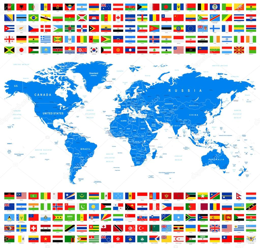 世界各国的国旗和地图矢量合集
