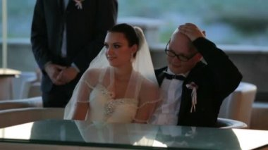 Groom And Bride Sitting At Table — Stock Video