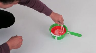 Mixed With White Paint Red Toner — Stock Video