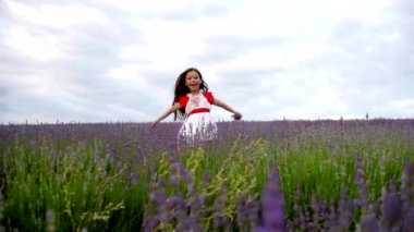 Female Child Hid in a Lavender — Stock Video