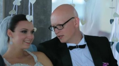 Young Happy Newlyweds Talking To Each Other — Stock Video