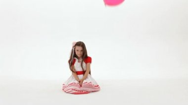 Balloons Fly For A Girl — Stock Video