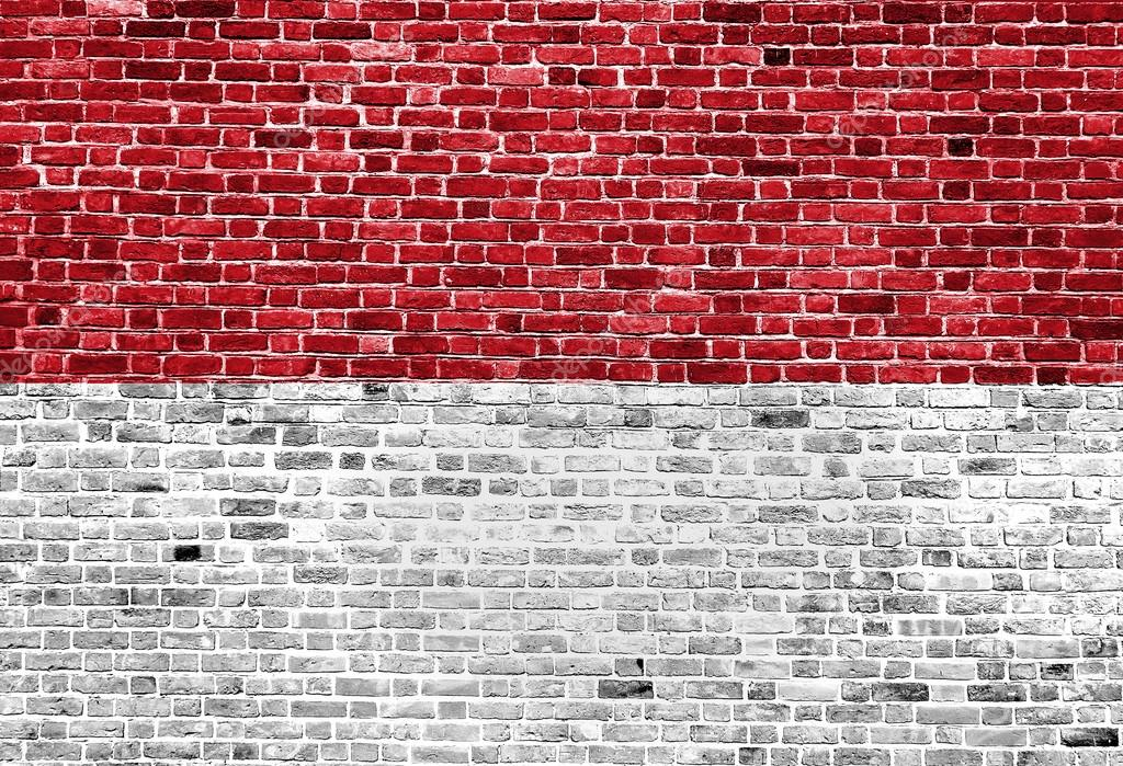 Flag of Indonesia painted on brick wall, background ...