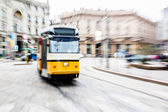Tram moving in the city — Stok fotoğraf